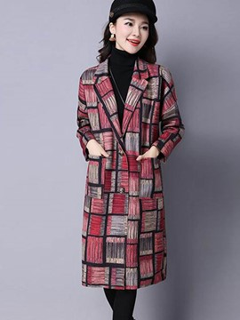 Ericdress Loose Plaid Polo Coat