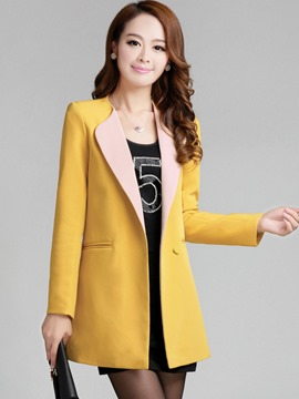 Ericdress Color Block Straight Polo Blazer