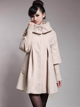 Ericdress Loose Turn-Down Solid Color Patchwork Coat
