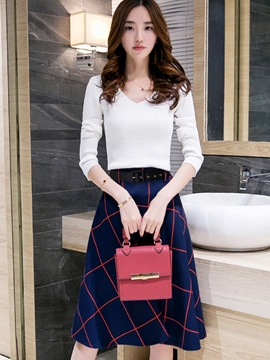 Ericdress V-Neck Sweater Plaid Skirt Suit