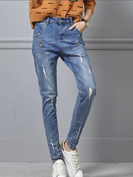 Ericdress Worn Washable Slim Jeans