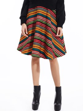 Ericdress High-Waist Ankle-Length Striped Skirt
