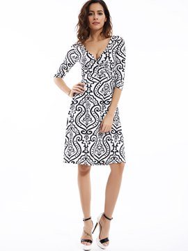 Ericdress Deep V-Neck Geometric Printed Day Dress