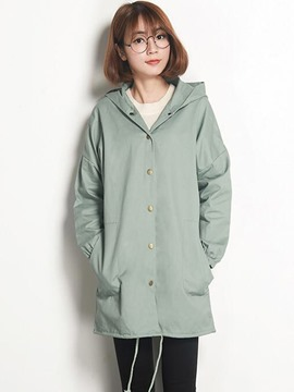 Ericdress Loose Single-Breasted Hooded Trench Coat