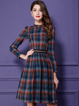 Ericdress Elegant Plaid Belt Pleated Casual Dress