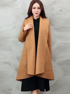 Ericdress Loose Turn-Down Solid Color Coat