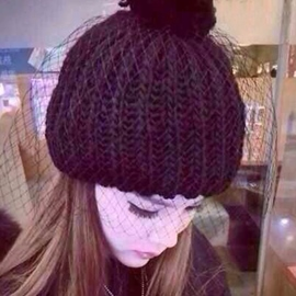 Ericdress Mesh Design Black Knitted Hat