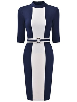 Ericdress Color Block Stand Collar Belt Half Sleeve Bodycon Dress