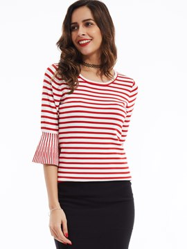 Ericdress Round Neck Flare Sleeves Striped Knitwear