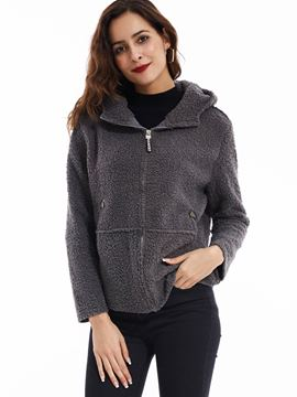 Ericdress Plain Slim Thick Hooded Jacket