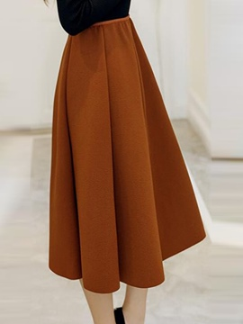 Ericdress Pleated High-Waist A-Line Skirt
