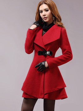 Ericdress Slim Turn-Down Wave Cut Coat