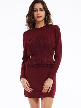 Ericdress Round Neck Pullover Falbala Above Knee Sweater Dress
