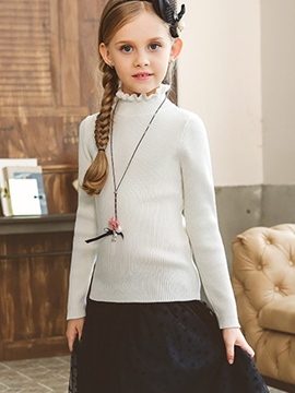 Ericdress Stand Collar Plain Girls Sweater