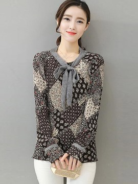 Ericdress Tie Bow Front Casual Blouse