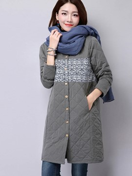 Ericdress Straight Single-Breasted Printed Coat