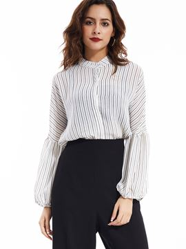 Ericdress Single-Breasted Puff Sleeve Blouse