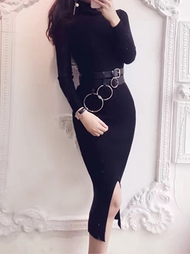 Ericdress Stand Collar Knitting Belt Mid-Calf Sheath Dress
