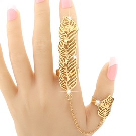 Ericdress Golden Leaves Design Hollow-Out Ring