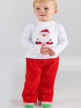 Ericdress Santa Pattern Christmas Tree Print Pants Girls Outfit