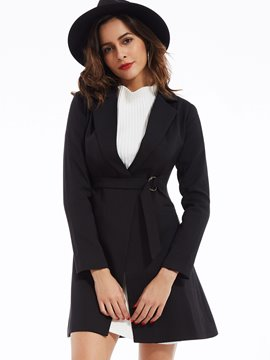 Ericdress Plain Notched Lapel Hemline Trench Coat