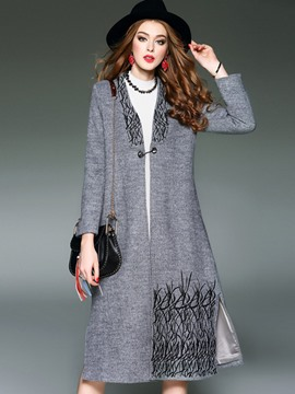 Ericdress European V-Neck Printed Coat