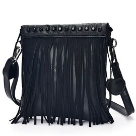 Ericdress Black Rivets Tassel Crossbody Bag
