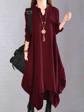 Ericdress Mori Girl V-Neck Asymmetric Loose Maxi Dress