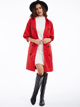 Ericdress Plain Lapel Double-Breasted Trench Coat