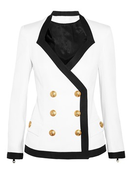 Ericdress Color Block Square Collar Slim Blazer
