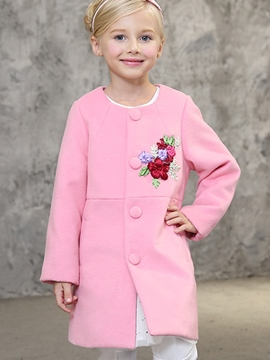 Ericdress Round-Neck Flower Embroidery Back-Slit Girl's Coat