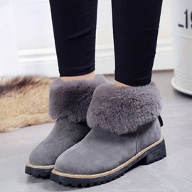 Ericdress Furry Flanging Ankle Boots