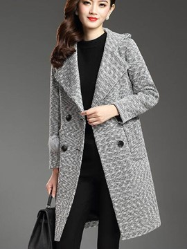 Ericdress Solid Color Double-Breasted Straight Coat
