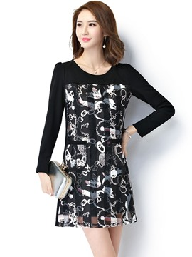 Ericdress Mesh Print Patchwork Above Knee Casual Dress