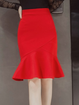 Ericdress Solid Color Falbala Mermaid Skirt