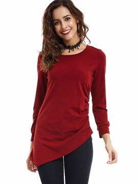 Ericdress Plain Round Neck Pullover T-shirt