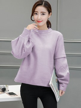 Ericdress Loose Round Neck Solid Color Hoodie