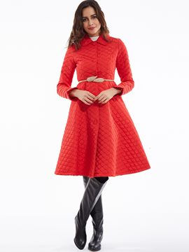 Ericdress Lapel Single-Breasted Hemline Cotton Coat