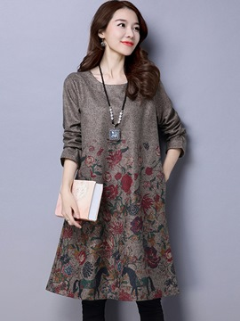 Ericdress Floral Print Round Collar Trumpet Loose Casual Dress