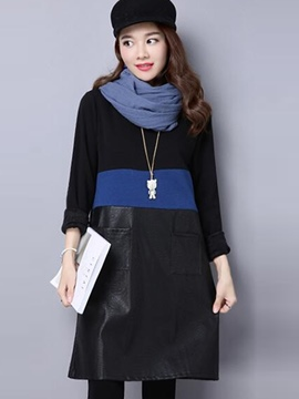 Ericdress Simple Color Block PU Patchwork Above Knee Casual Dress