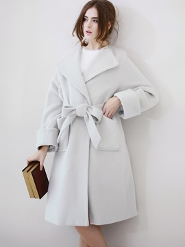 Ericdress Loose Belt Solid Color Coat