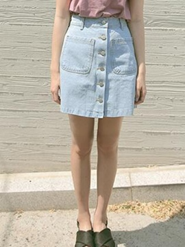 Ericdress High-Waist Denim Mini Skirt