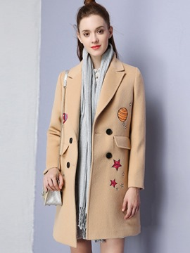 Ericdress Straight Embroidery Double-Breasted Coat