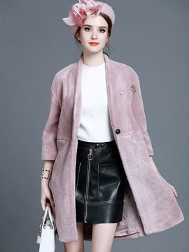 Ericdress Loose V-Neck Solid Color Coat