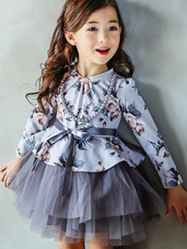 Ericdress Floral Print Patchwork Layered Girls Dress