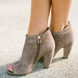 Ericdress Suede Open Toe Sandal Booties