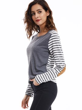 Ericdress Stripe Patchwork Casual T-Shirt