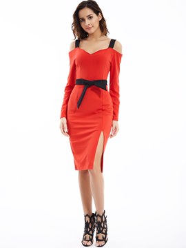 Ericdress Spaghetti Strap V-Neck Dew shoulder Bodycon Dress