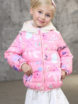 Ericdress Stylish Floral Print Zip-Front Girl's Coat