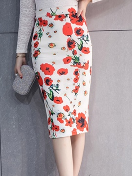 Ericdress Floral Print High-Waist Patchwork Bodycon Skirt